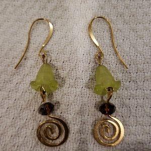 Dangling Bell and Swirl Earrings
